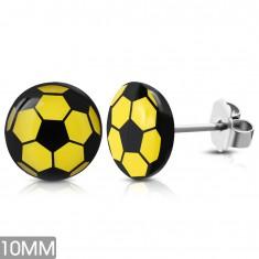 Kerek fülbevaló sebészeti acélból, sárgásfekete futball-labda, stekkerek
