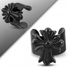 Fekete acél hamis piercing fülbe, kivágott liliomvégű kereszt