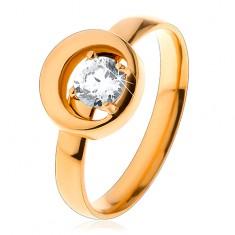 Gyűrű 316L acélból arany árnyalatban, kerek átlátszó cirkónia egy körben kivágásokkal