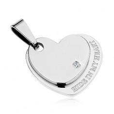 Medál sebészeti acélból, fényes kettős szív ezüst színben, cirkónia, felirat
