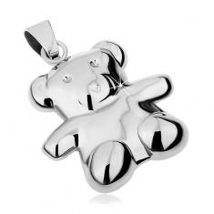 Medál 316L acélból ezüst színben, kétoldalú medve, magas fényesség