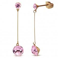 Fülbevaló 316L acélból réz színben, vékony pálca, két rózsaszín cirkónia