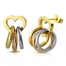 Acél fülbevaló, három különböző színű gyűrű fényes szív körvonalon, stekkeres