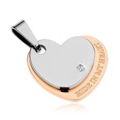 Medál 316L acélból, szív ezüst és réz színben, cirkónia, felirat