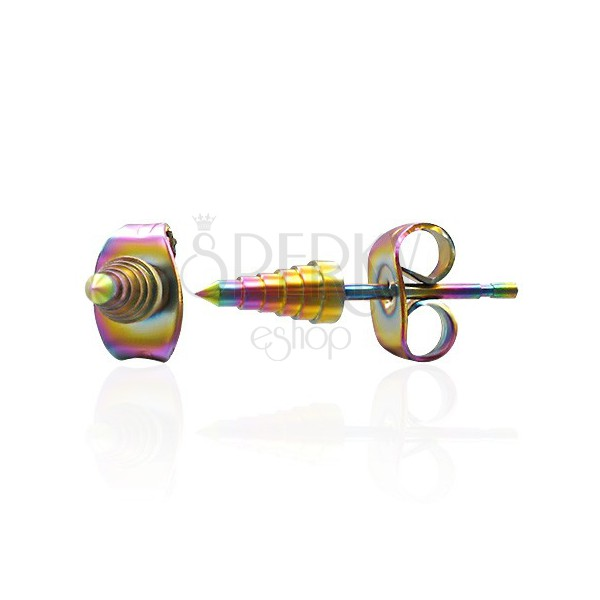 Szivárvávny fülbevaló acélból - anodizált kúp