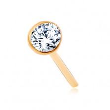 585 arany orr piercing - csillogó átlátszó cirkónia fényes foglalatban, 2 mm