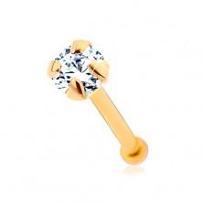 585 arany orr piercing, egyenes szárú - csillogó cirkónia átlátszó színben, 1,5 mm