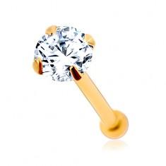 585 arany orr piercing, egyenes szárú - csillogó cirkónia átlátszó színben, 2 mm