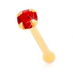 14K sárga arany orrpiercing, egyenes - kerek csillogó piros színű cirkónia , 1,5 mm