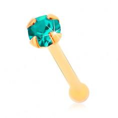 585 arany orr piercing, egyenes szárú - csillogó cirkónia akvamarin színben, 1,5 mm