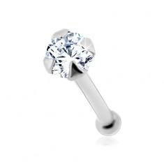 Orr piercing fehér 14K aranyból - kerek átlátszó cirkónia, 1,5 mm
