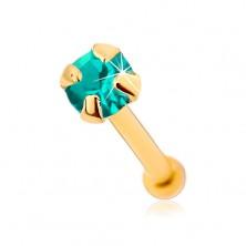 375 arany orr piercing, egyenes szárú - csillogó kékeszöld cirkónia, 1,5 mm