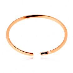 14K rózsaszín arany piercing - vékony fényes karika, sima felület