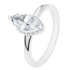 925 ezüst gyűrű, búzaszem cirkónia átlátszó változatban díszes foglalatba helyezve