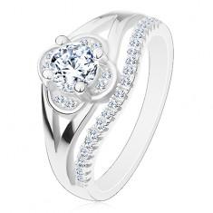 925 ezüst gyűrű, cirkóniás virág és apró cirkóniás hullám