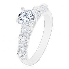 925 ezüst gyűrű, csillogó szárak, kiemelkedő cirkónia átlátszó változatban