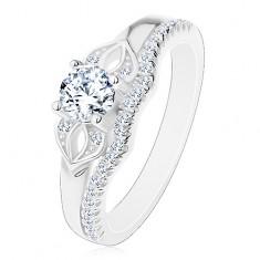 925 ezüst gyűrű, csillogó átlátszó masni és sáv