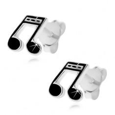 925 ezüst fülbevaló - tizenhatod hangjegy fekete színben