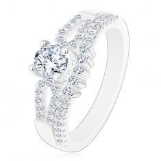 Csillogó eljegyzési gyűrű, 925 ezüst, kivágások a szárakon, átlátszó cirkóniák