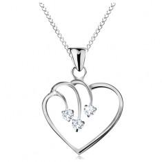 925 ezüst nyakék, nyaklánc medállal, szív körvonal három cirkóniával