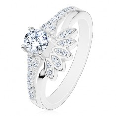 925 ezüst gyűrű, kerek cirkóniák csillogó foglalatban