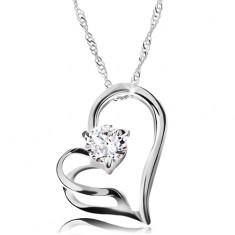 925 ezüst nyakék - kettős szív körvonal, spirális nyaklánc