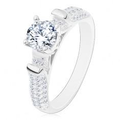 925 ezüst gyűrű, csillogó szárak átlátszó cirkónia