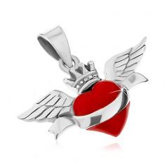925 ezüst medál, piros szív szalaggal, koronával és szárnyakkal, patinált