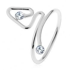 925 ezüst gyűrű, hajlított vonalak cirkóniákkal a végén