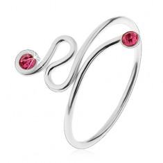925 ezüst gyűrű, állítható méretű, rózsaszín cirkóniák a szárvégeken