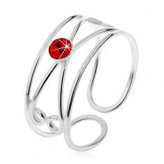 925 ezüst gyűrű - kerek piros cirkónia, dupla hurok, állítható
