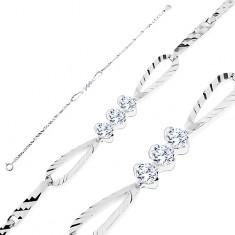 Csillogó karkötő - 925 ezüst, fényes elemek bemetszésekkel, masni cirkóniákkal