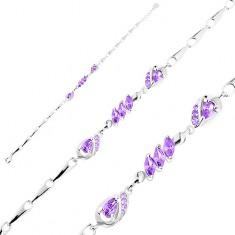 925 ezüst karkötő, állítható hossz, fényes elemek, lila könnycsepp és búzaszem alakú cirkóniák