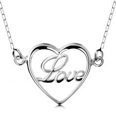 925 ezüst nyakék, nyaklánc és medál - vékony szív körvonal, Love felirat