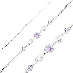 925 ezüst karkötő, lila és átlátszó cirkóniás virág, fénylő ovális elemek, átlátszó cirkóniák