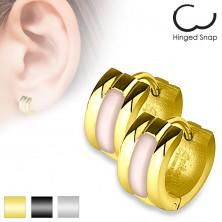 Sebészeti acél fülbevaló, kidomborodó rózsaszín gyöngyházfényes sáv, különböző színek