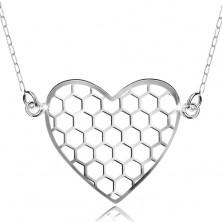 925 ezüst nyakék, nyaklánc medállal, hatszögek szívecskében