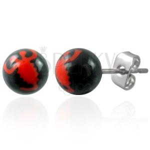 Fekete acél golyós fülbevaló - piros skorpió