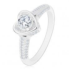 925 ezüst gyűrű, szív átlátszó cirkóniákkal, csillogó szárak