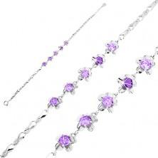Karkötő 925 ezüstből, fényes elemek - hurkok, virágok lila cirkóniákkal