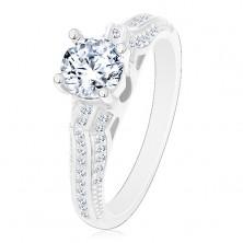Eljegyzési gyűrű, 925 ezüst, csillogó szárak vékony vonalakkal, átlátszó cirkónia