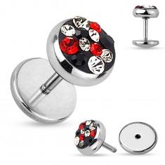 Acél hamis plug fülbe, piros, fekete, szürke és átlátszó cirkóniák