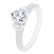 925 ezüst gyűrű, kerek átlátszó cirkónia díszes foglalatban, csillogó szárak