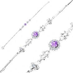 925 ezüst karkötő, állítható hossz, lila cirkóniák, virágok és szívek