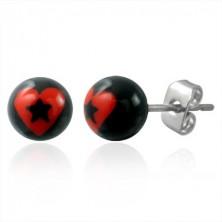 Golyós fülbevaló - piros szív és fekete csillag