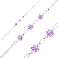 925 ezüst karkötő, fénylő szögletes elemek, búzaszem alakú lila cirkóniák, virágok