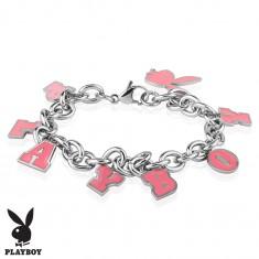 Acél karkötő ezüst színben, rózsaszín medál - nyuszi és PLAYBOY felirat