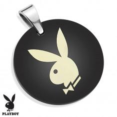 Medál sebészeti acélból, fényes fekete kör Playboy nyuszival