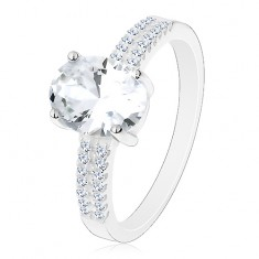 Eljegyzési gyűrű, 925 ezüst, nagy csillogó ovális, cirkóniás vonalak a szárakon