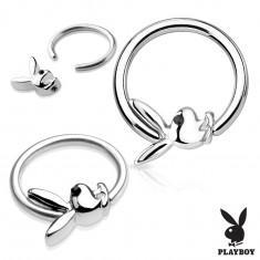 Piercing karika sebészeti acélból ezüst színben Playboy nyuszival
